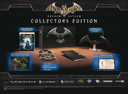 The slightly misleading original advert for the UK Collector's Edition. The Batarang looks metallic and the game is in a regular PS3 case