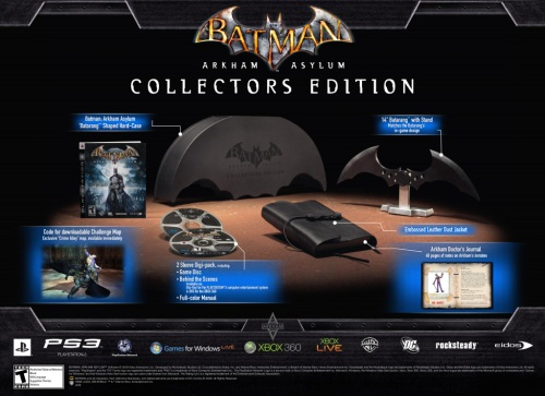The USA Collector's Edition gets a proper slipcase for the game, a leather-bound Arkham Asylum Journal, all held in a stylish metallic box