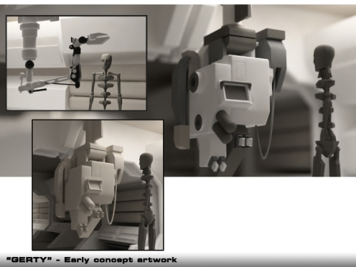 Some early concept art for the robot GERTY, voiced in the film by Kevin Spacey.