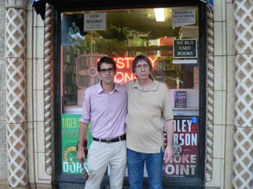 Ben H. Winters with Richard Katz at his store, Mystery One