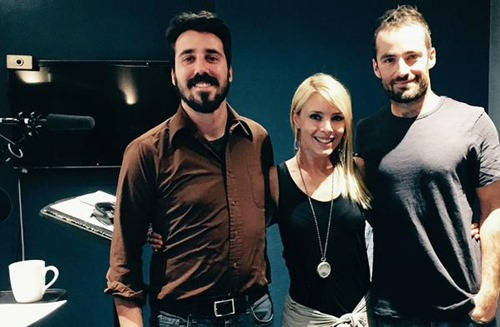 Russ Bain in the recording studio with voice and casting director Arthur von Nagel and Amy Pemberton (the voice of Elaena Glenmore)