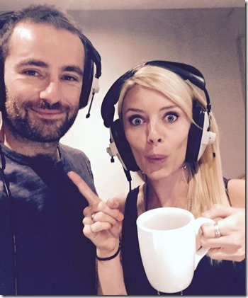 Russ Bain (Rodrik Forrester) and Amy Pemberton (Elaena Glenmore) in the recording studio